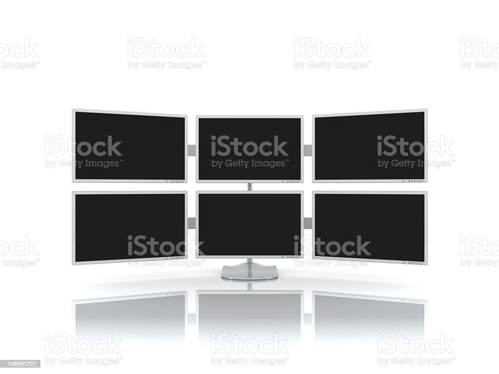 The multiscreen monitor stock photo