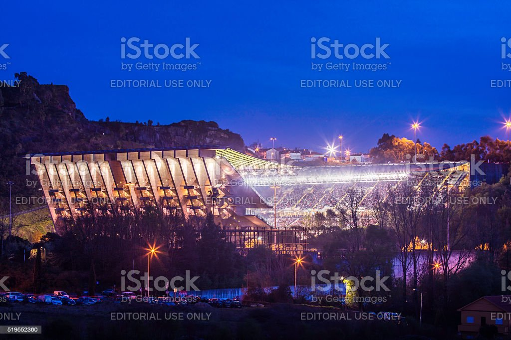 The Municipal Stadium of Braga Axa in the evening stock photo