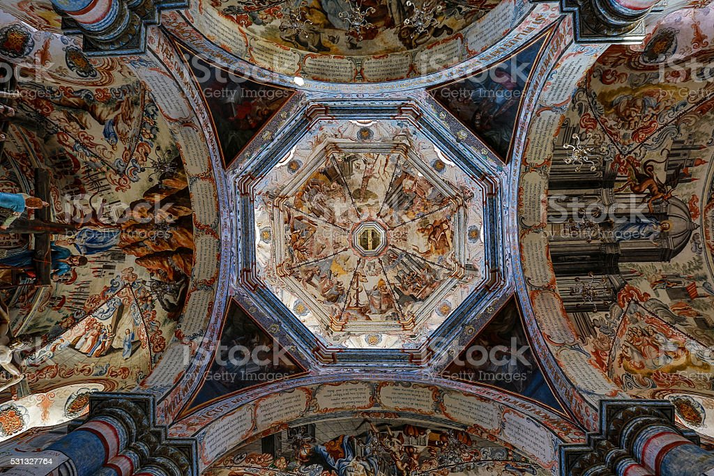 the murals of the Atotonilco chapel ceiling stock photo