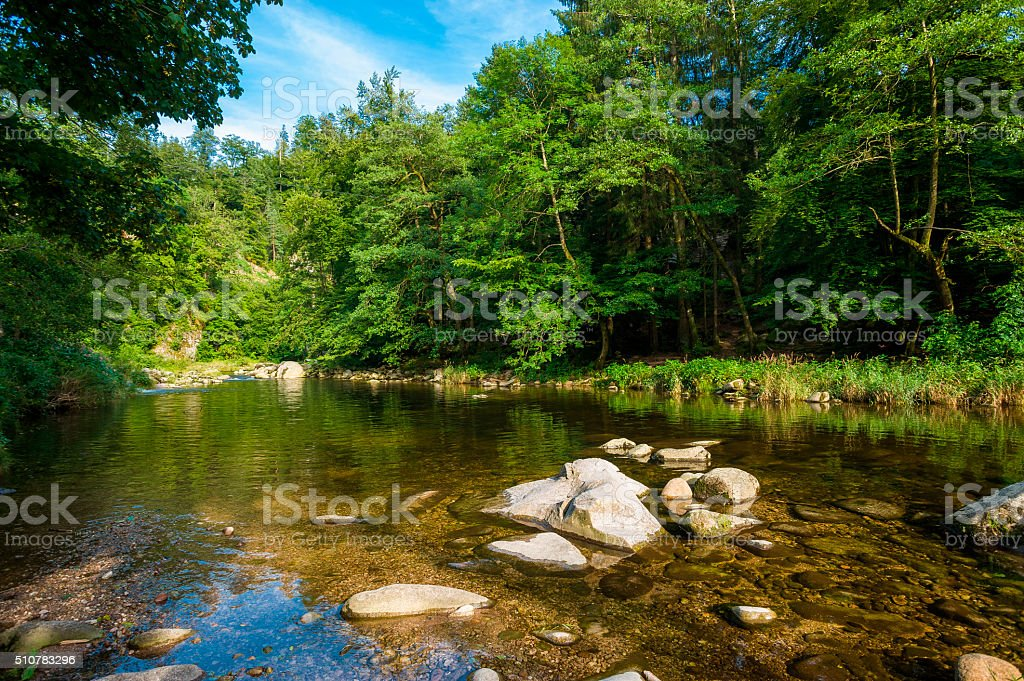 The Murg river in the Murg valley near Forbach stock photo