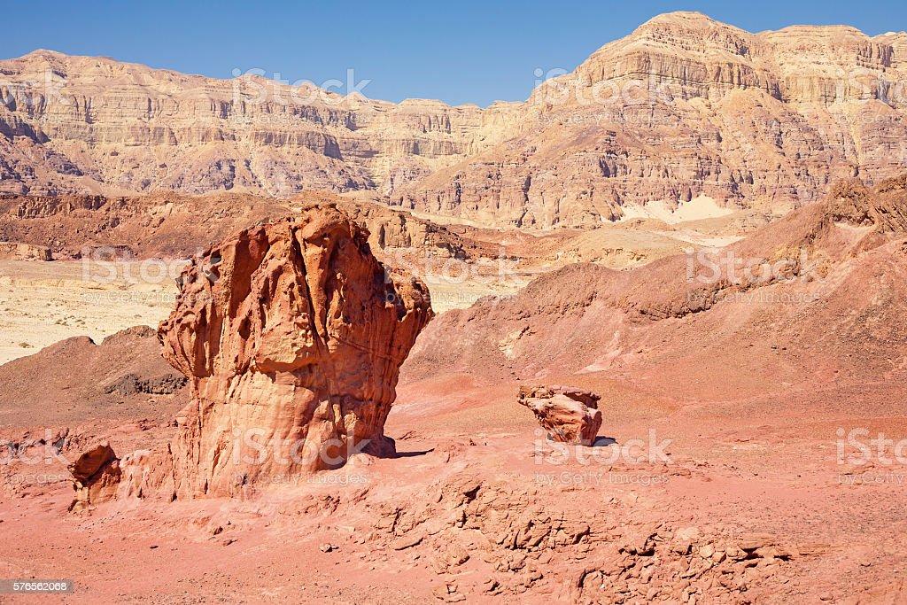 The Mushroom and the half sandstones in Israel stock photo