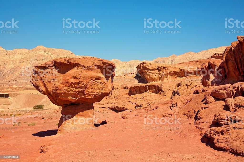 The Mushroom sandstone in Timna Park stock photo