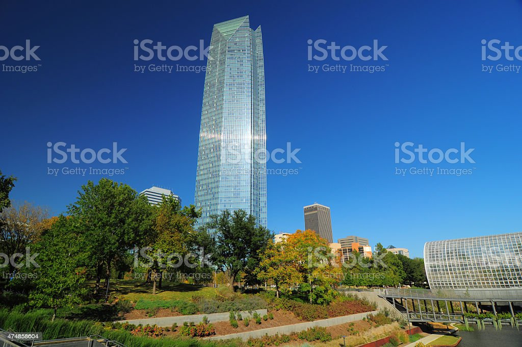 The Myriad Botanical Gardens and Devon Tower in Oklahoma City stock photo