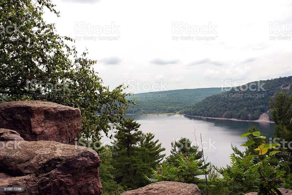 The mysterious Devil's Lake, Wisconsin, USA stock photo