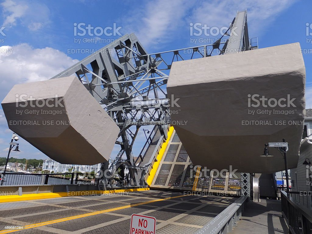 The Mystic River Bascule Bridge in Mystic, Connecticut stock photo
