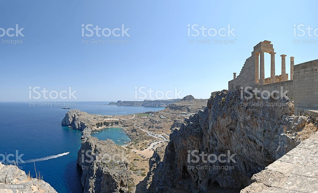 The mystical ancient Temple of Athena Rhodes Greece stock photo