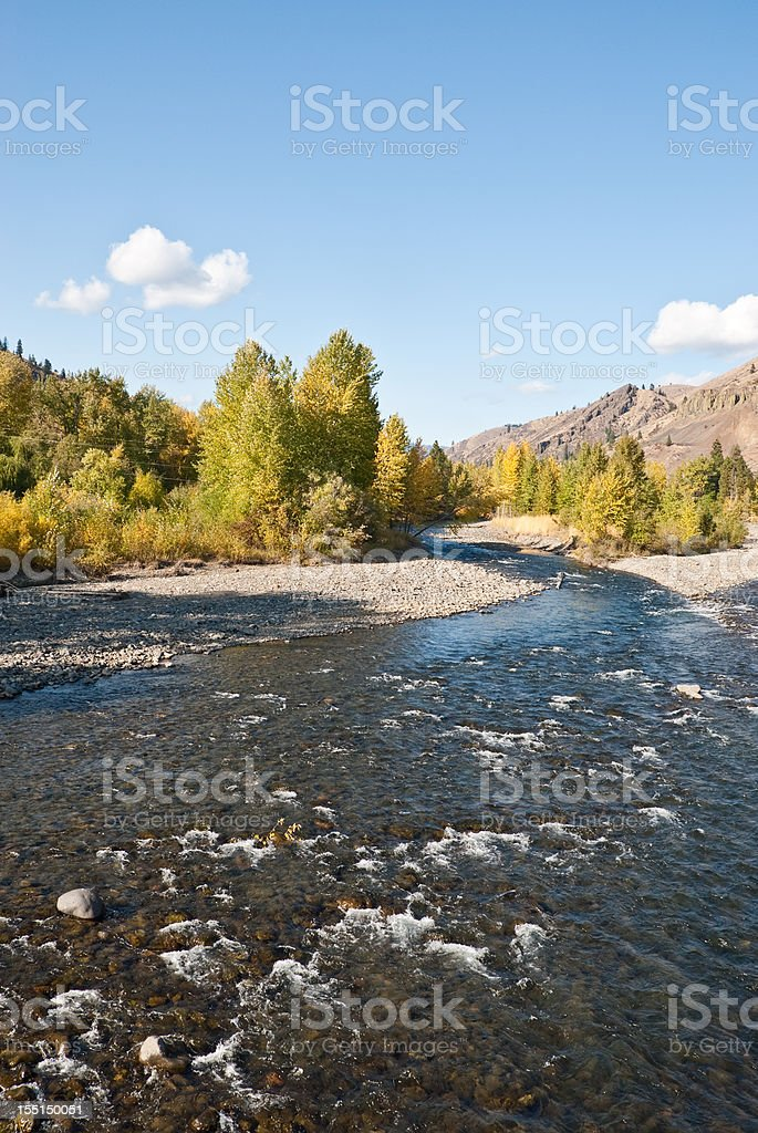 Fall Colors on the Naches River stock photo
