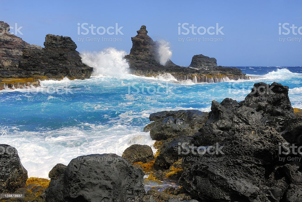 The Nakalele Blowhole in Maui royalty-free stock photo