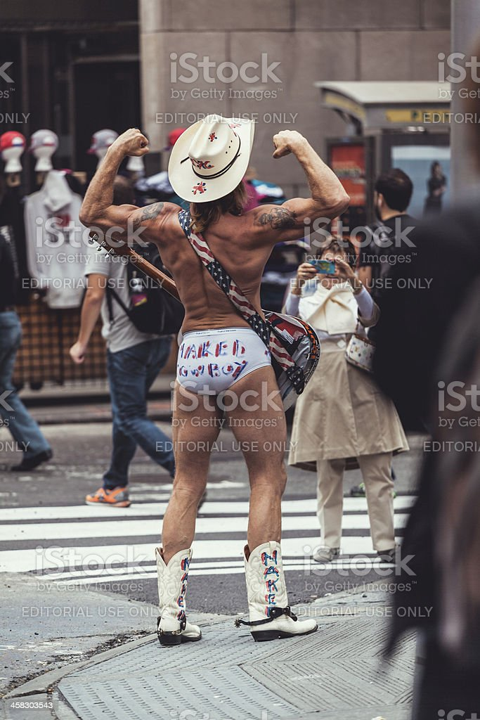 The naked Cowboy in Times Square, New York royalty-free stock photo