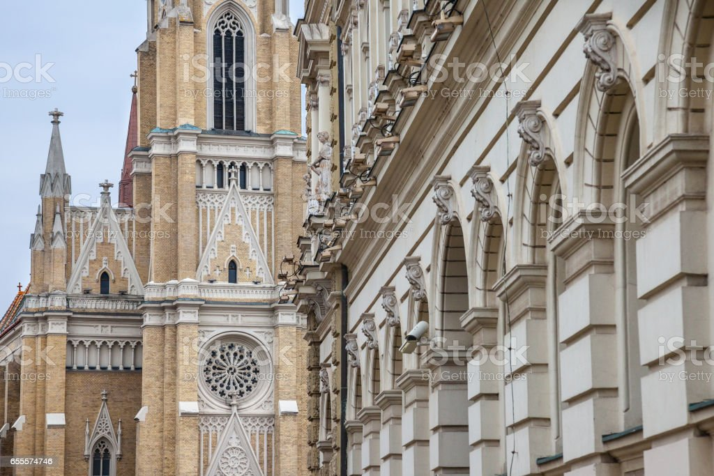 The Name of Mary Church, also known as Novi Sad catholic cathedral. This cathedral is one of the most important landmarks of Novi Sad, Serbia stock photo