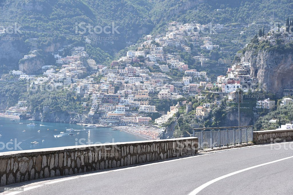 The narrow and  dangerous roads of south Italy stock photo