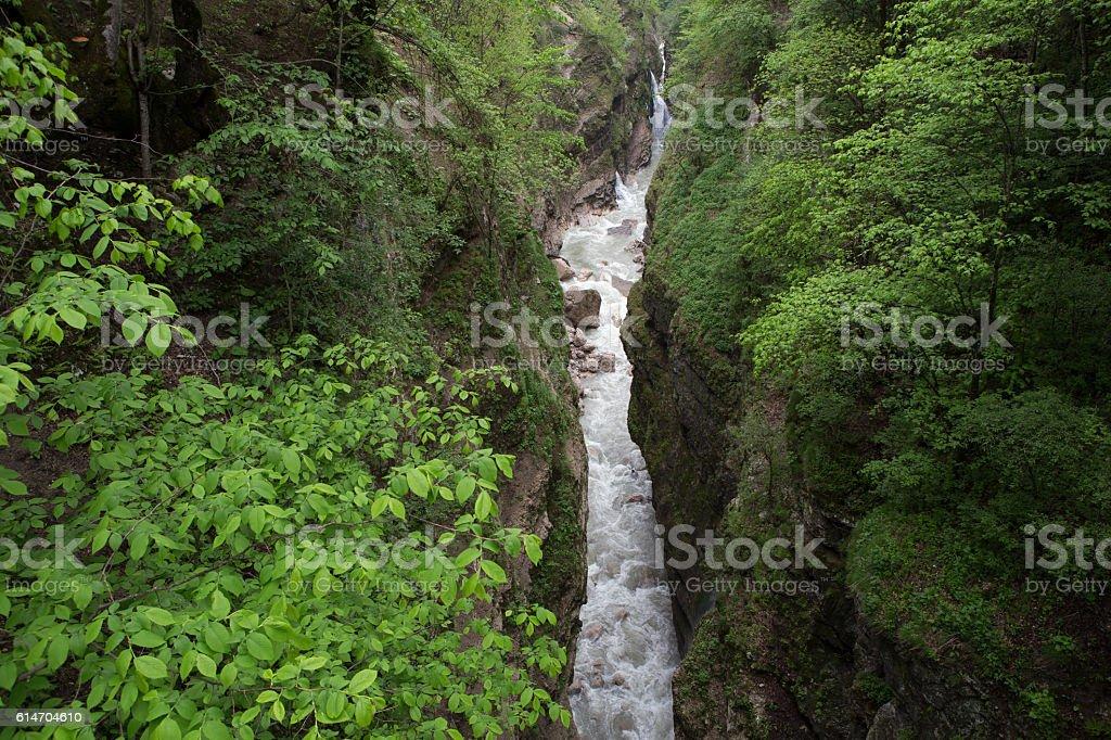 The narrow canyon Urukh river. stock photo