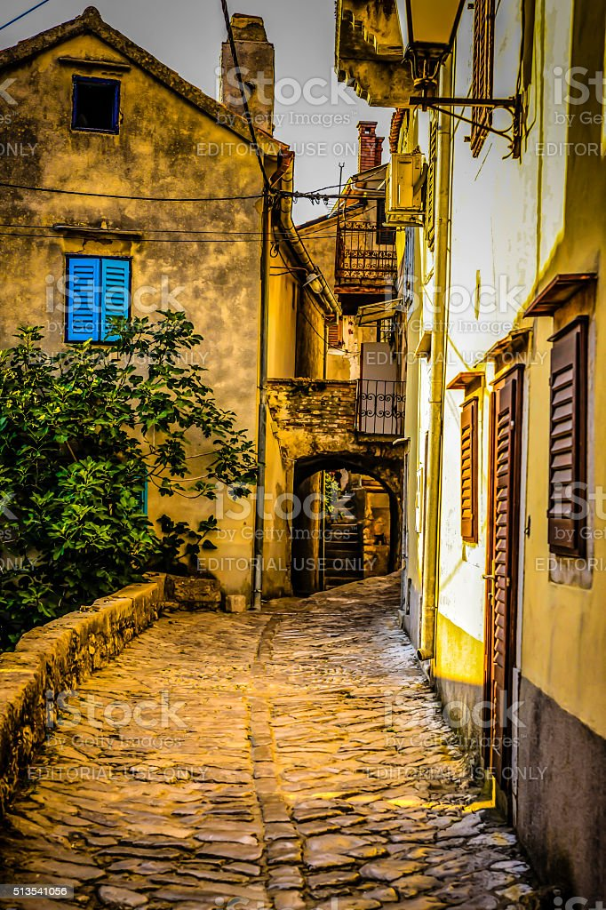 The narrow cobbled street in Vrbnik, Croatia stock photo
