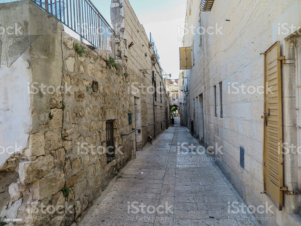 The narrow stone street in the Old City of Jerusalem stock photo