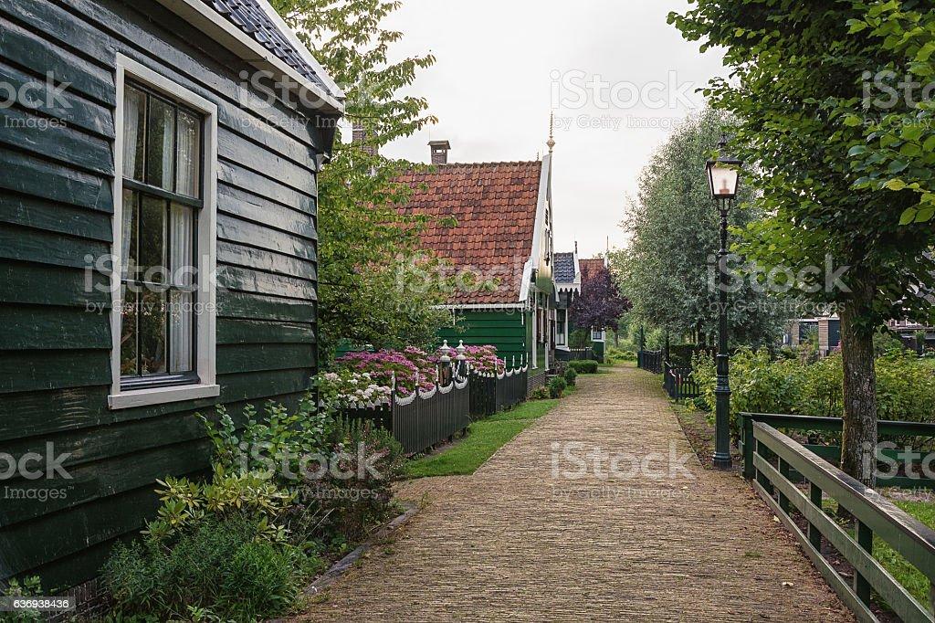 The narrow street in the small village of Zaanse Schans. stock photo