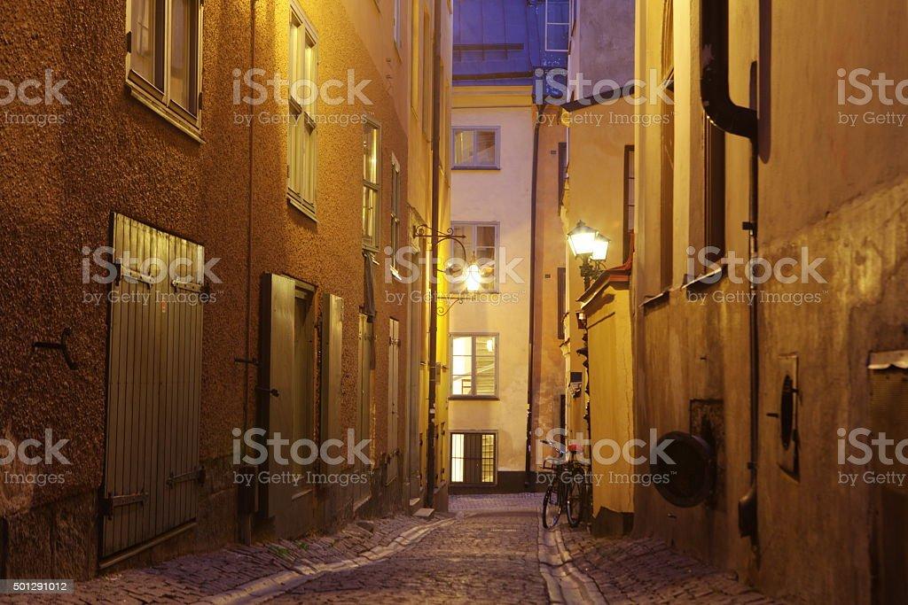 The narrow street of Gamla Stan - historic city Stockholm, stock photo