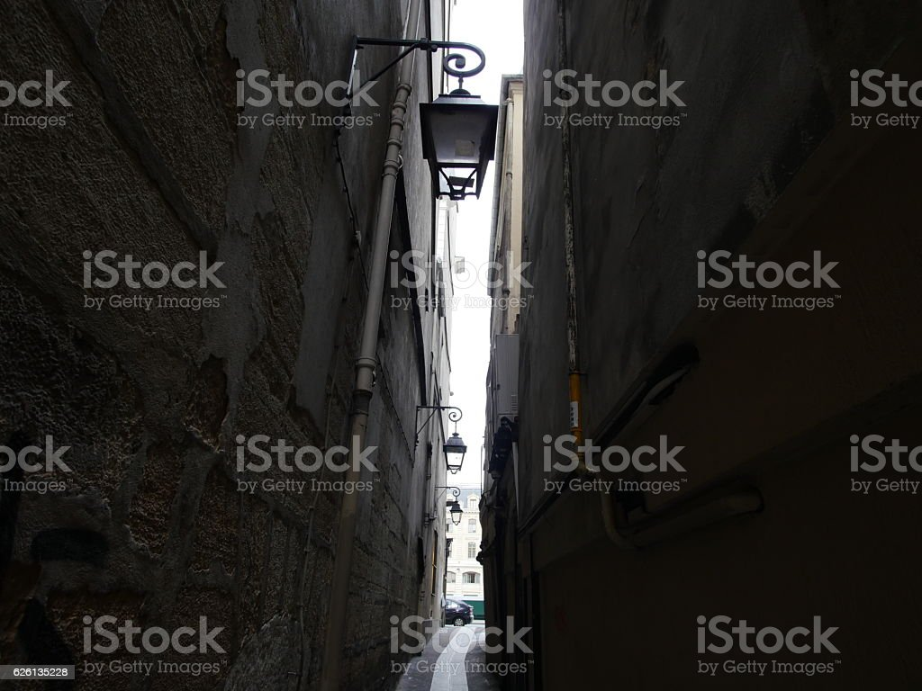 The narrowest street in Paris---Rue de Chat qui peche stock photo