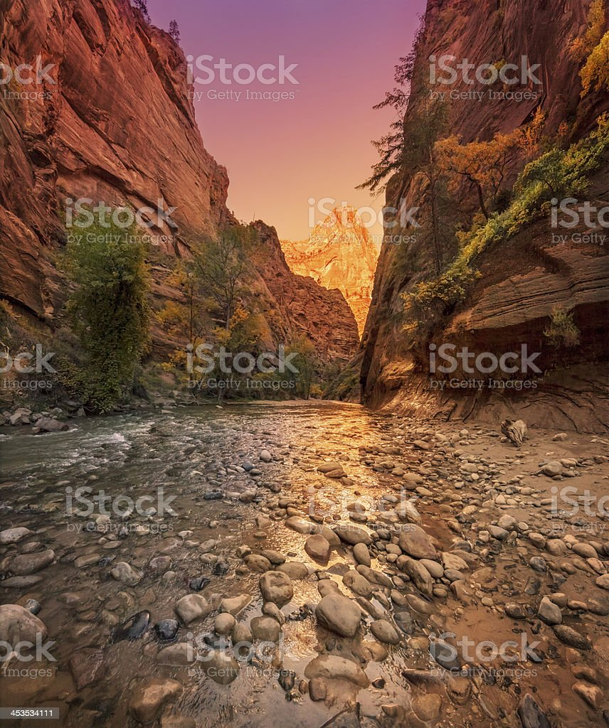 The Narrows,  Zion National Park at Sunset stock photo