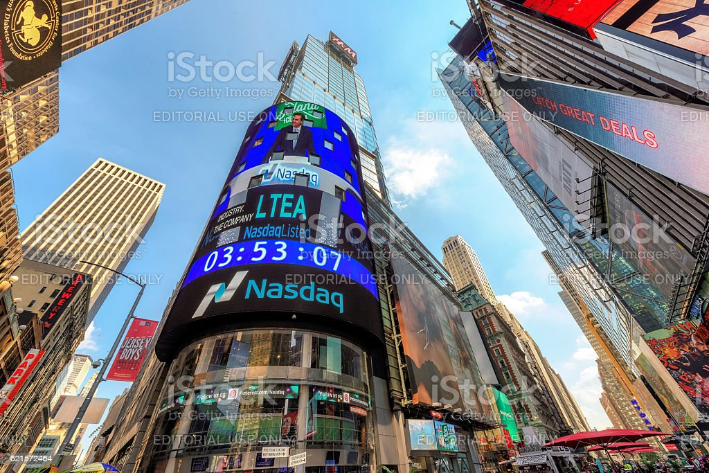 The NASDAQ building on Times Square in New York, USA stock photo