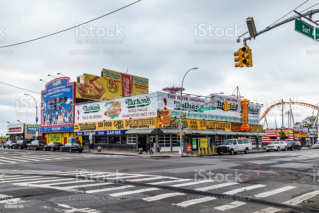 The Nathan's original restaurant at Coney Island, stock photo