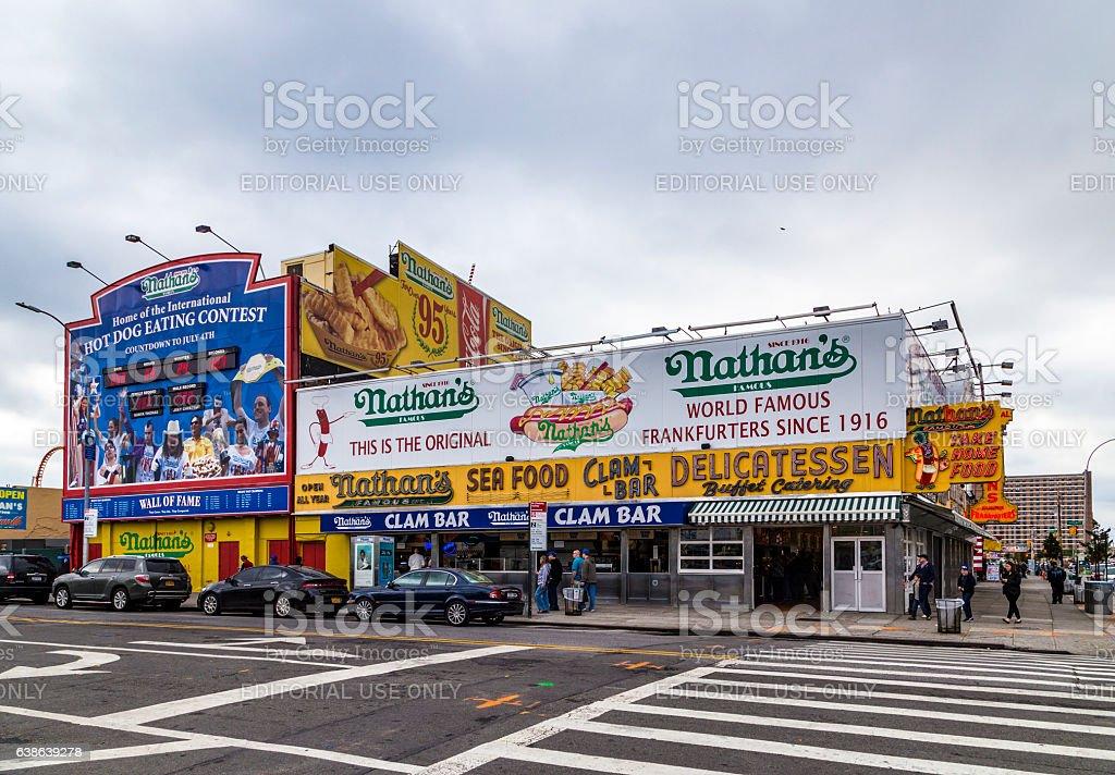 The Nathan's original restaurant at Coney Island, stock photo