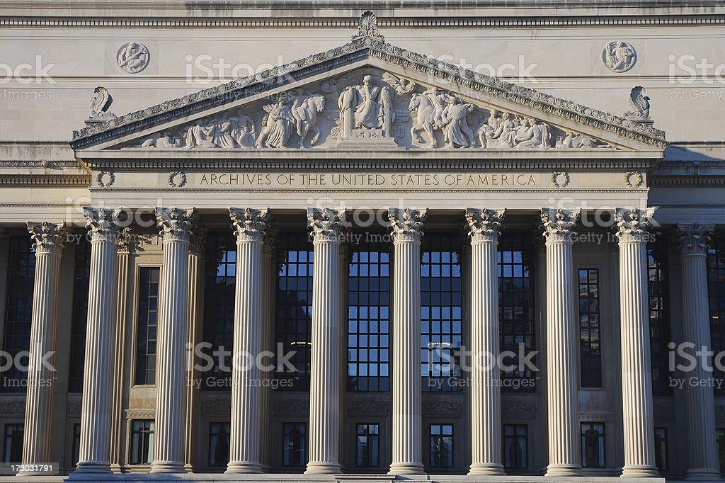 The National Archives, Washington DC royalty-free stock photo