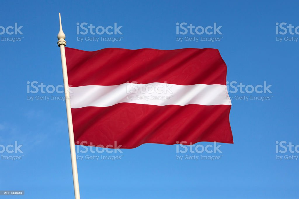 The national flag of Latvia stock photo