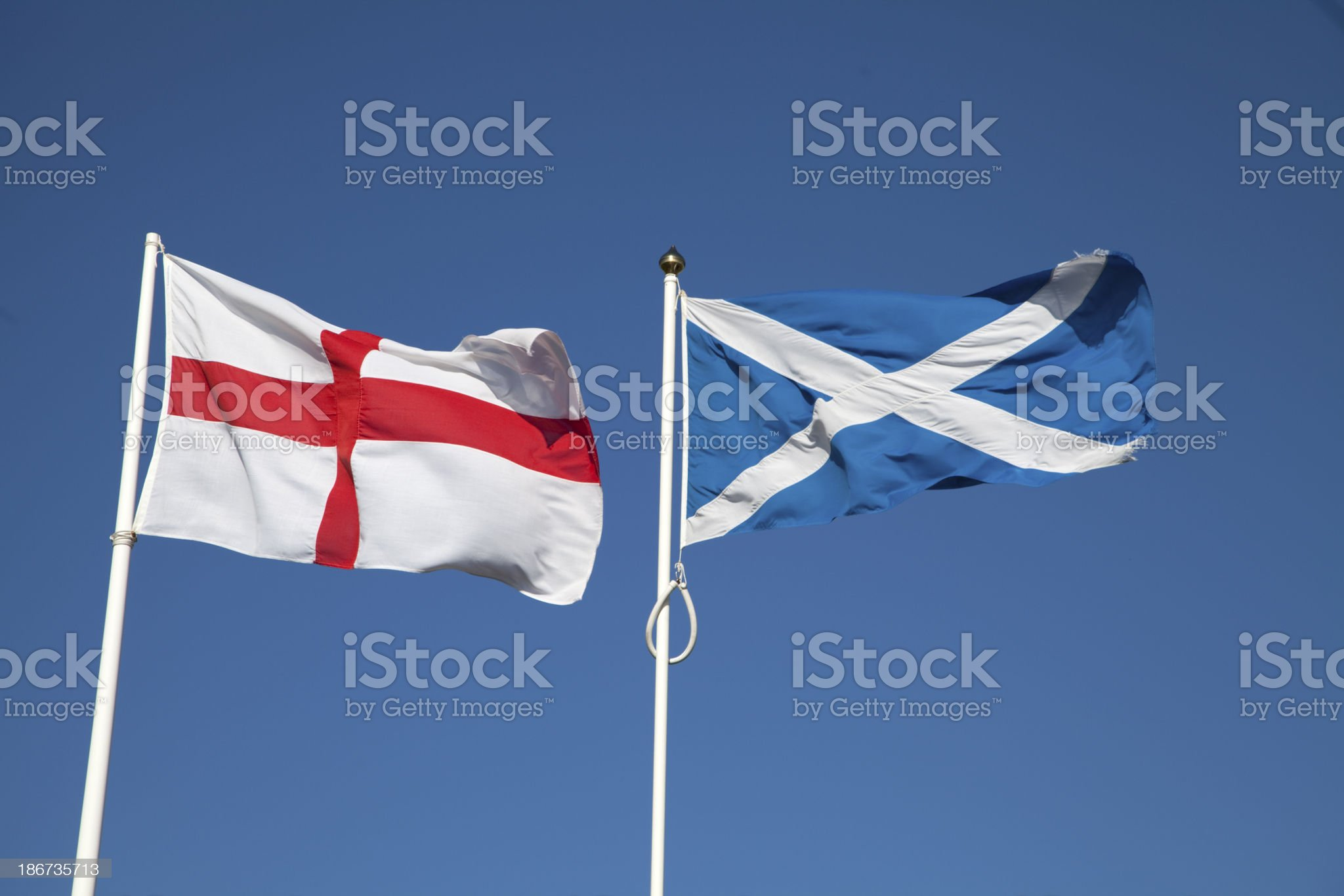 The National flags of England and Scotland royalty-free stock photo