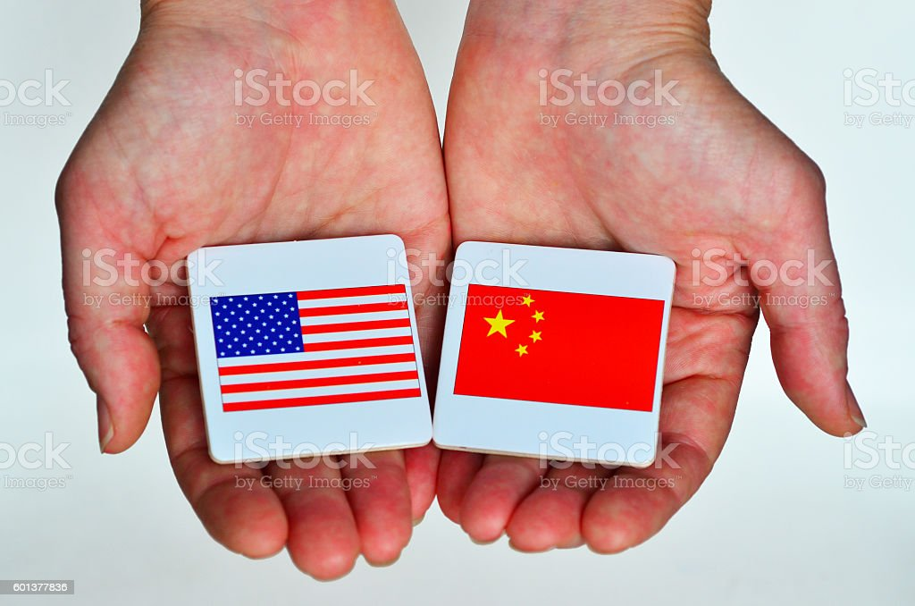 The national flags of the United States of Ameri stock photo