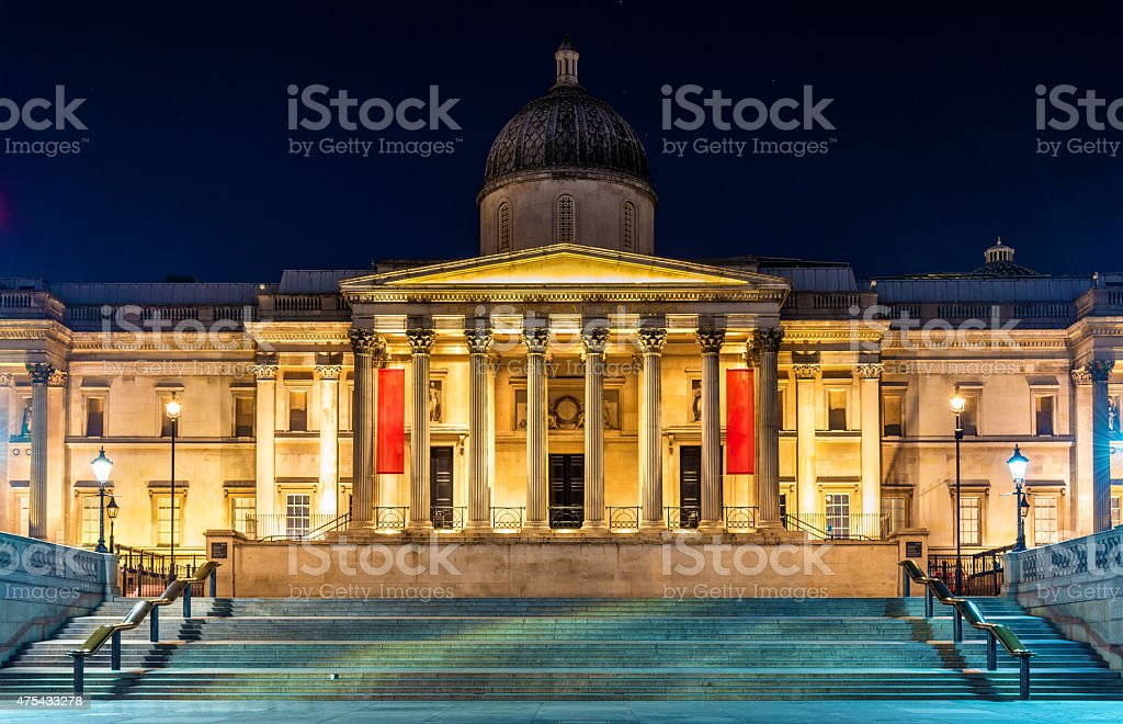 The National Gallery in Trafalgar Square, London stock photo