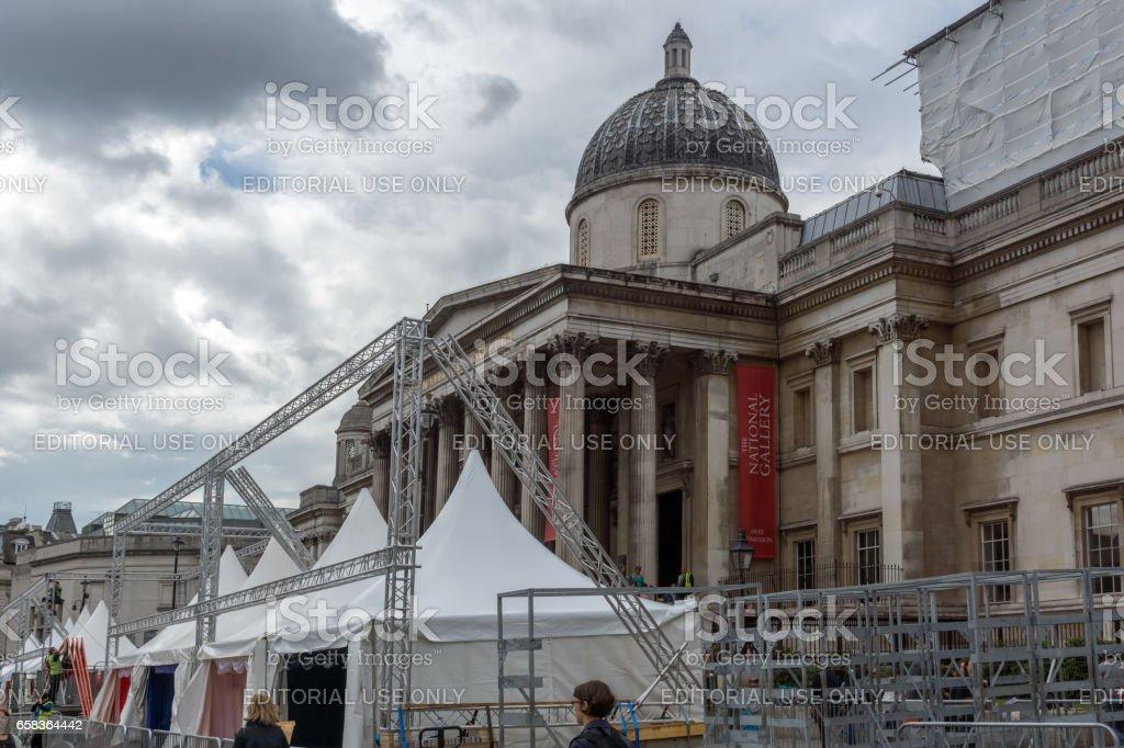 LONDON, ENGLAND - JUNE 16 2016: The National Gallery on Trafalgar Square, London, England stock photo