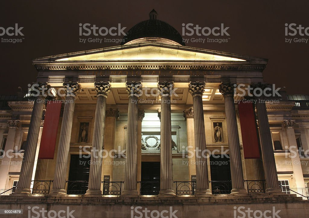 The National Gallery photographed at night royalty-free stock photo