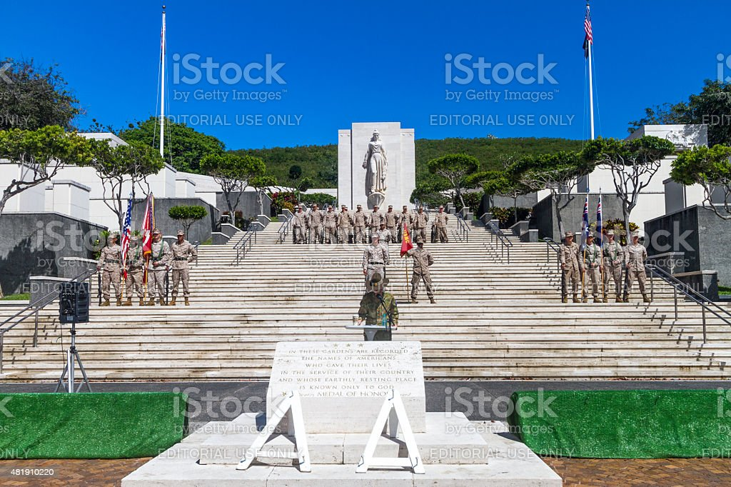 The National Memorial Cemetery of the Pacific, honolulu, Hawaii stock photo