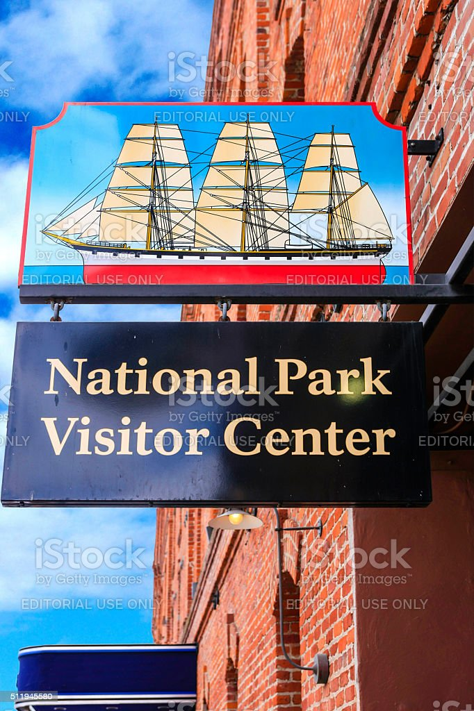 The National Park Visitor Center sign in San Francisco stock photo