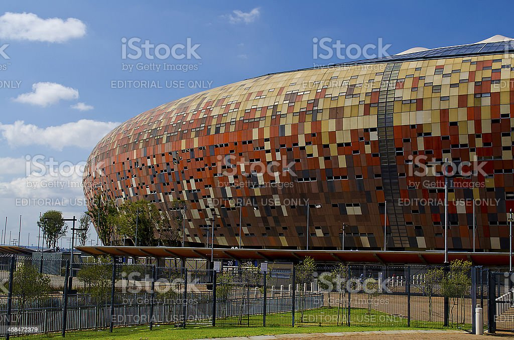 The National Stadium stands outside Soweto in Johannesburg. stock photo