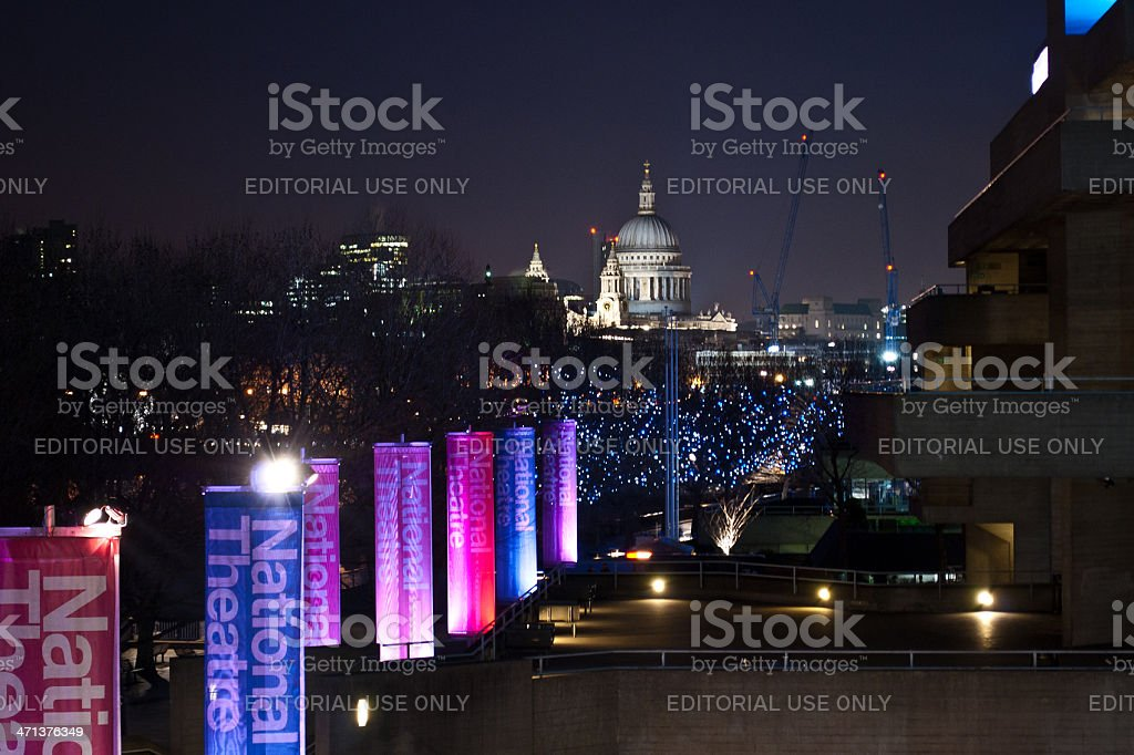 The National Theatre And St. Paul Cathedral Dome By Night stock photo