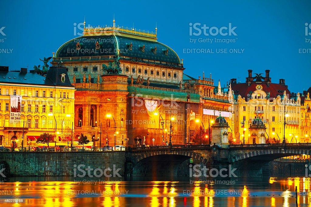 The National Theatre (Narodni divadlo) in Prague stock photo