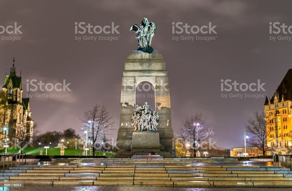 The National War Memorial on Confederation Square in Ottawa, Canada stock photo