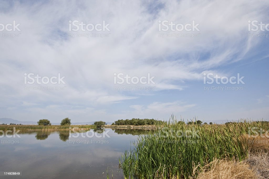 Clouds Form Above Tule Lake stock photo