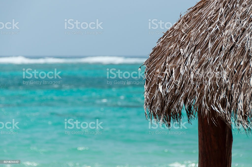 The Native Roof made of leave facing the blue caribbean stock photo
