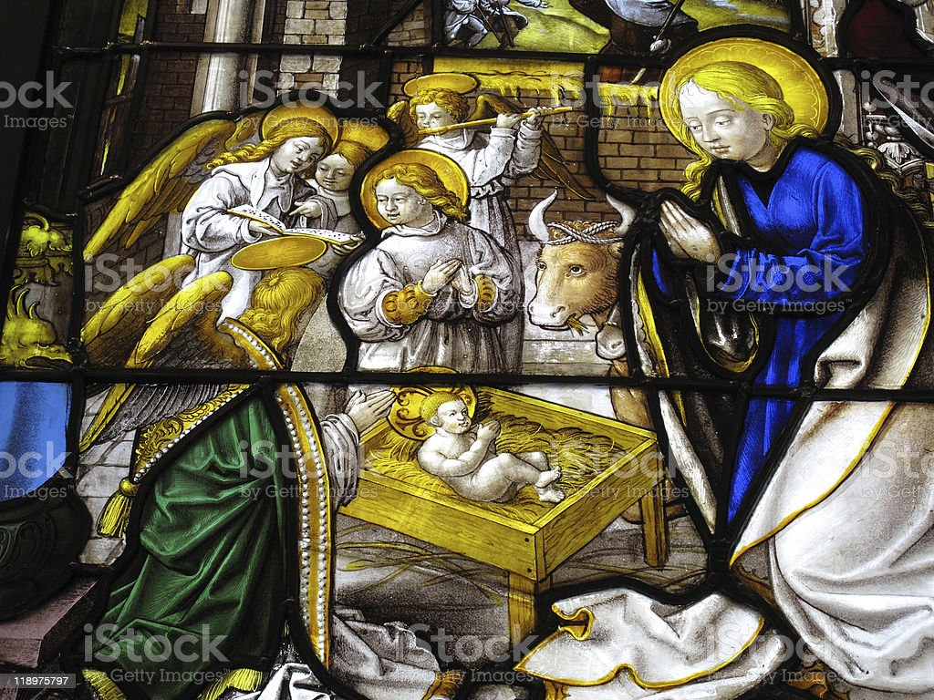 The Nativity On A medieval 16th Century Stained Glass Window royalty-free stock photo
