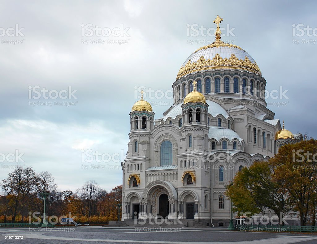 The Naval cathedral of Saint Nicholas in Kronstadt, St. Petersbu stock photo