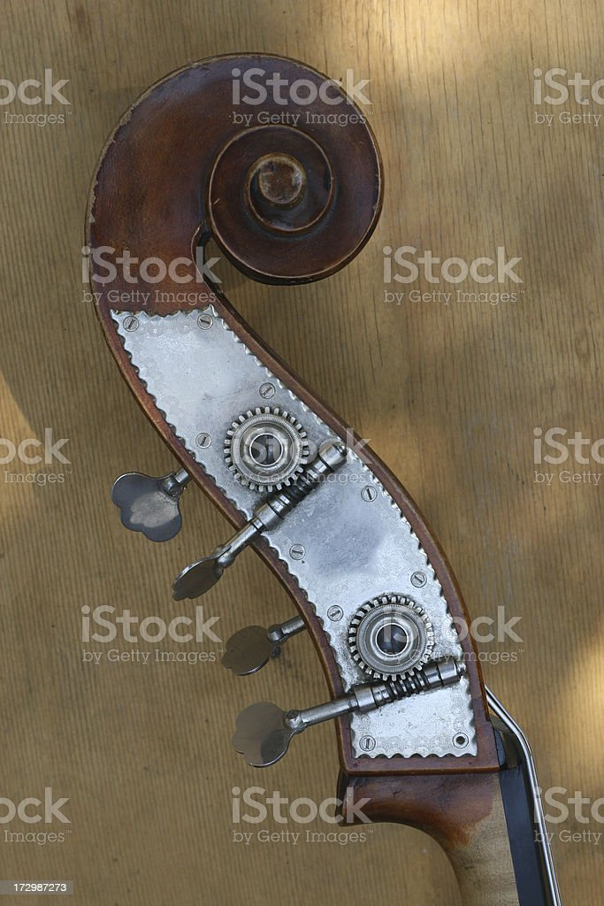The neck swirl of a stand up bass royalty-free stock photo