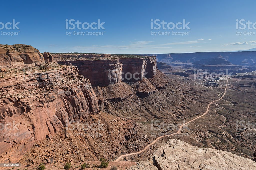 The Neck Viewpoint White Rim Road in Canyonlands National Park stock photo