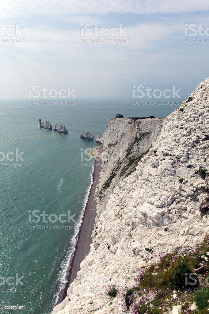 The Needles Isle of Wight landmark by Alum Bay stock photo