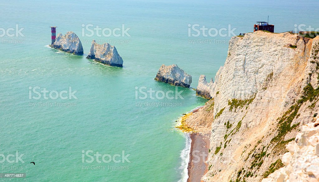 The Needles tourist attraction Isle of Wight UK stock photo