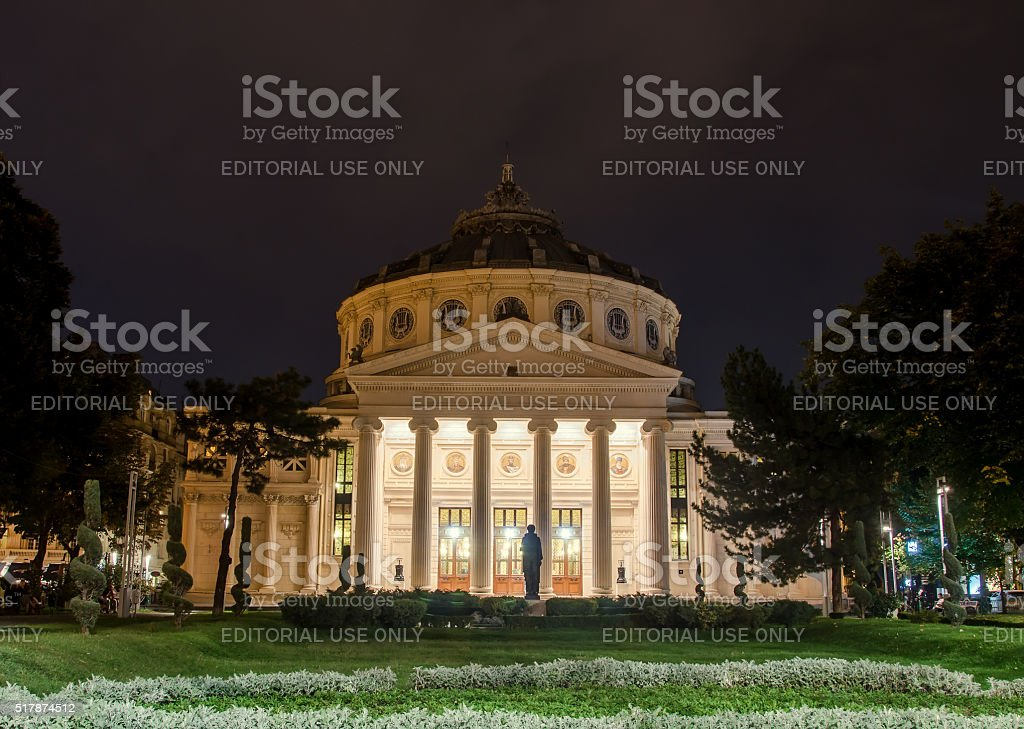 The neoclassical building called 'Romanian Atheneum' stock photo