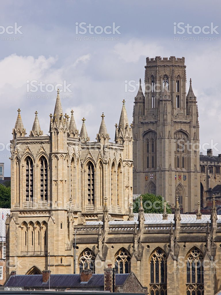 The neo-classical towers of Bristol cathedral and university stock photo