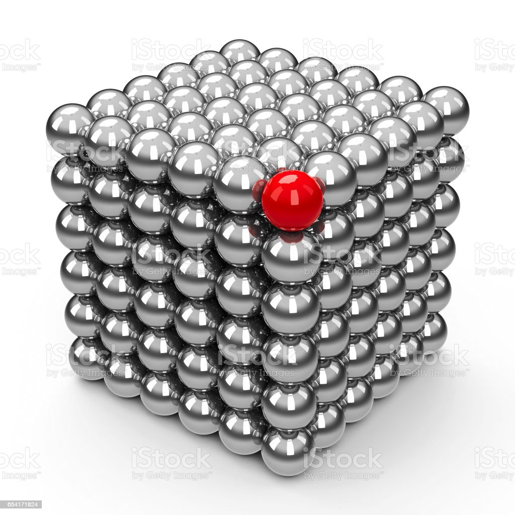 The Neocube spheres with red sphere stock photo