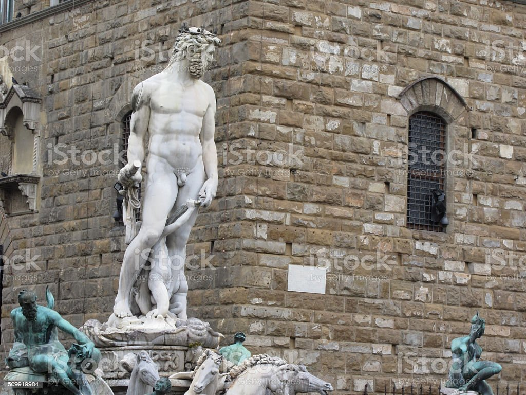 The Neptune fountain and Palazzo Vecchio in Florence, Italy stock photo